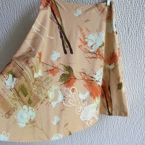 Odille Skirt 8 Birds Floral Graphics 100% Cotton